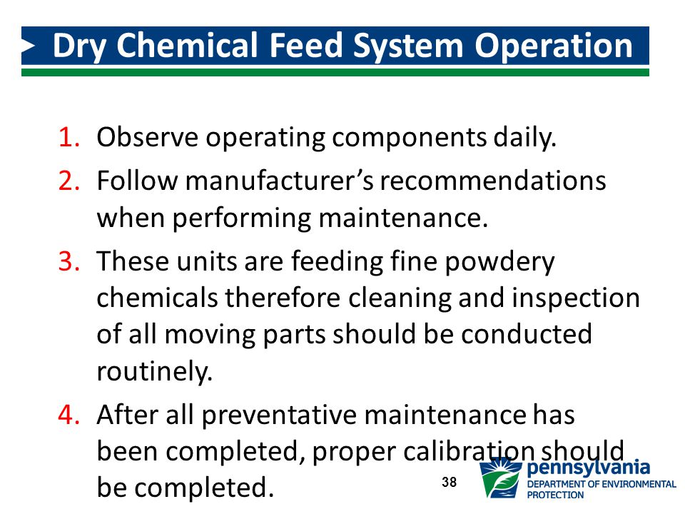 Dry Chemical Feed System Operation and Maintenance