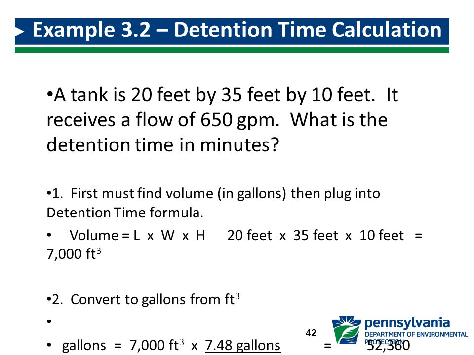 Example 3.2 – Detention Time Calculation