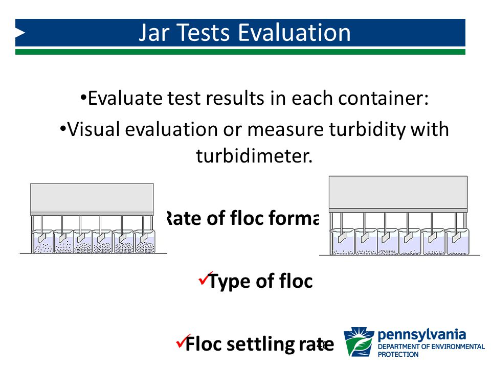 Jar Tests Evaluation Evaluate test results in each container: