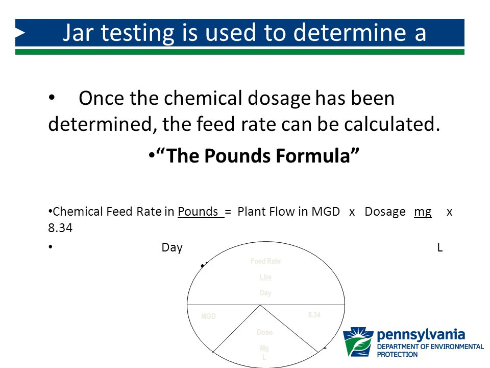 Jar testing is used to determine a chemical dosage!