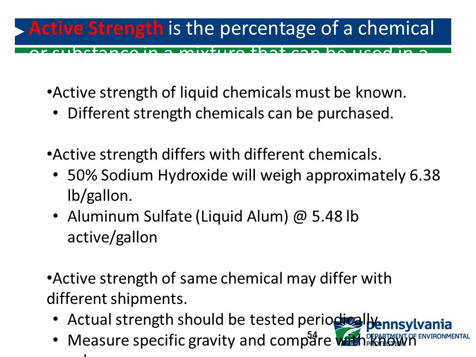 Active Strength is the percentage of a chemical or substance in a mixture that can be used in a chemical reaction.