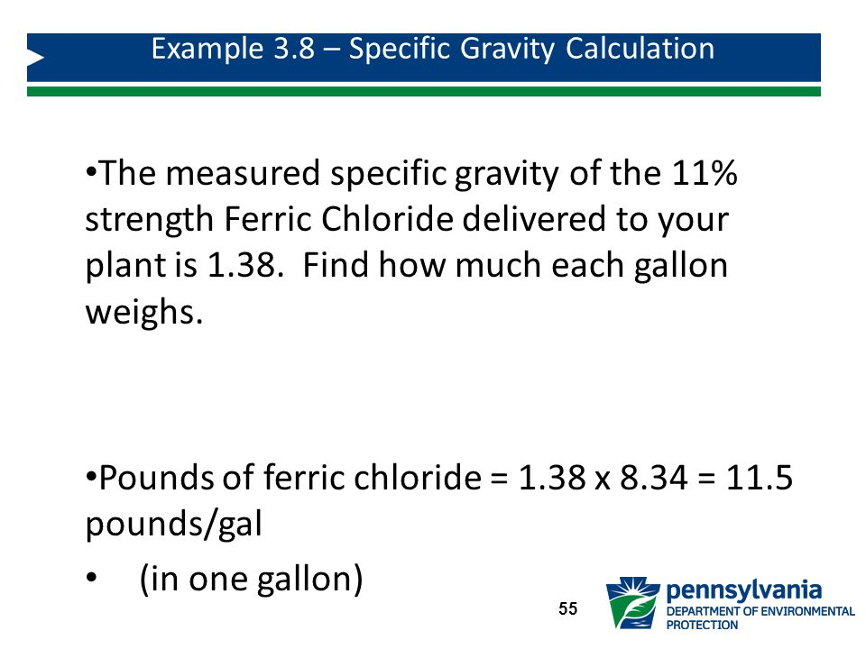 Example 3.8 – Specific Gravity Calculation