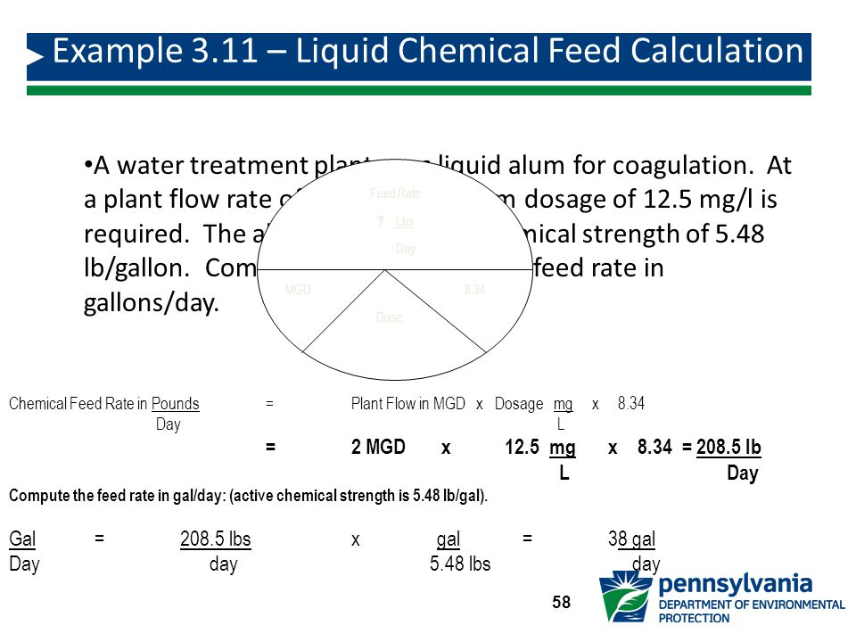 Example 3.11 – Liquid Chemical Feed Calculation