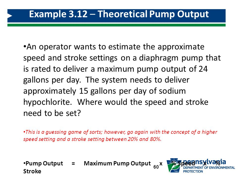 Example 3.12 – Theoretical Pump Output