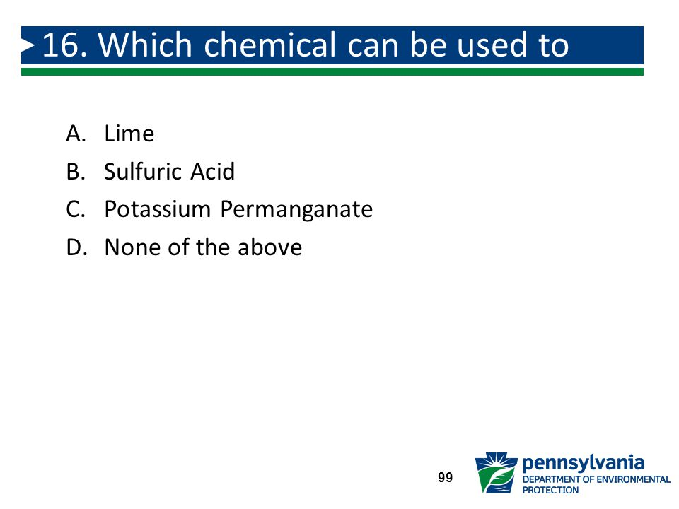 16. Which chemical can be used to destroy taste and odor compounds