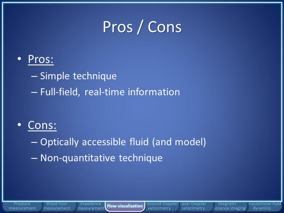 Pros / Cons Pros: Cons: Simple technique