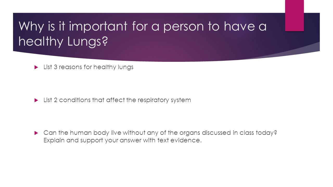 Why is it important for a person to have a healthy Lungs