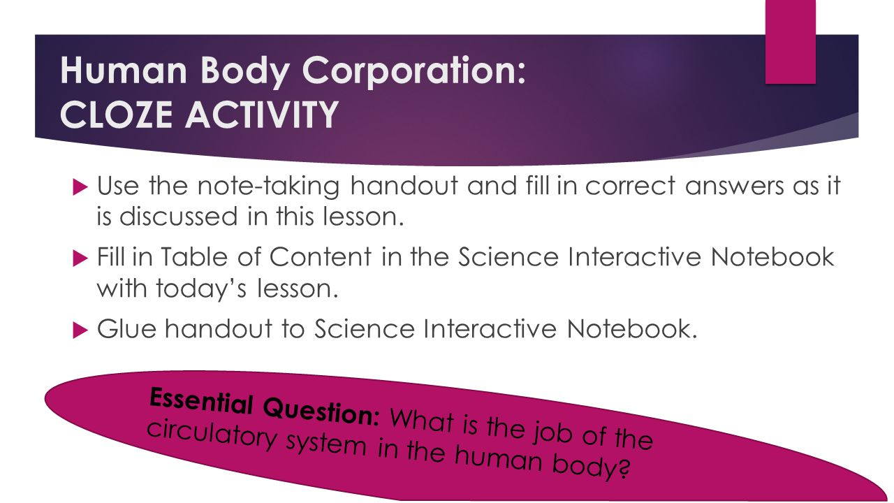 Human Body Corporation: CLOZE ACTIVITY