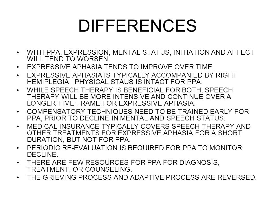 DIFFERENCES WITH PPA, EXPRESSION, MENTAL STATUS, INITIATION AND AFFECT WILL TEND TO WORSEN. EXPRESSIVE APHASIA TENDS TO IMPROVE OVER TIME.