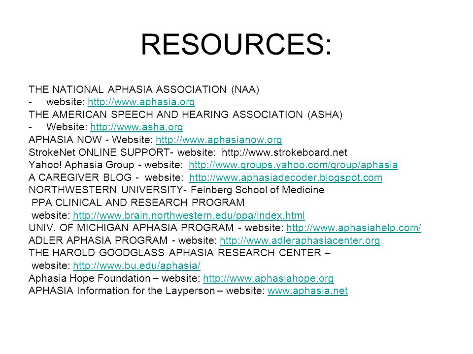 RESOURCES: THE NATIONAL APHASIA ASSOCIATION (NAA)
