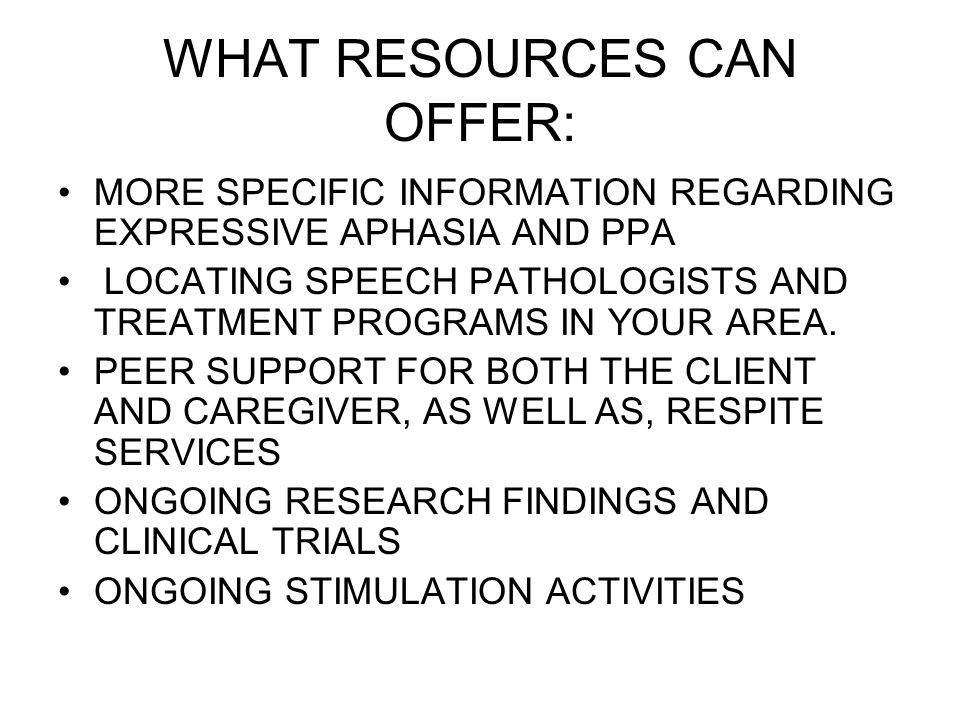 WHAT RESOURCES CAN OFFER: