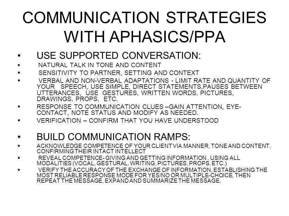 COMMUNICATION STRATEGIES WITH APHASICS/PPA