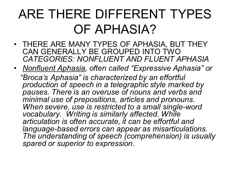 ARE THERE DIFFERENT TYPES OF APHASIA