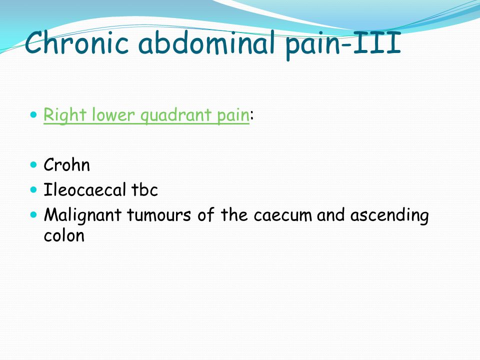 Chronic abdominal pain-III