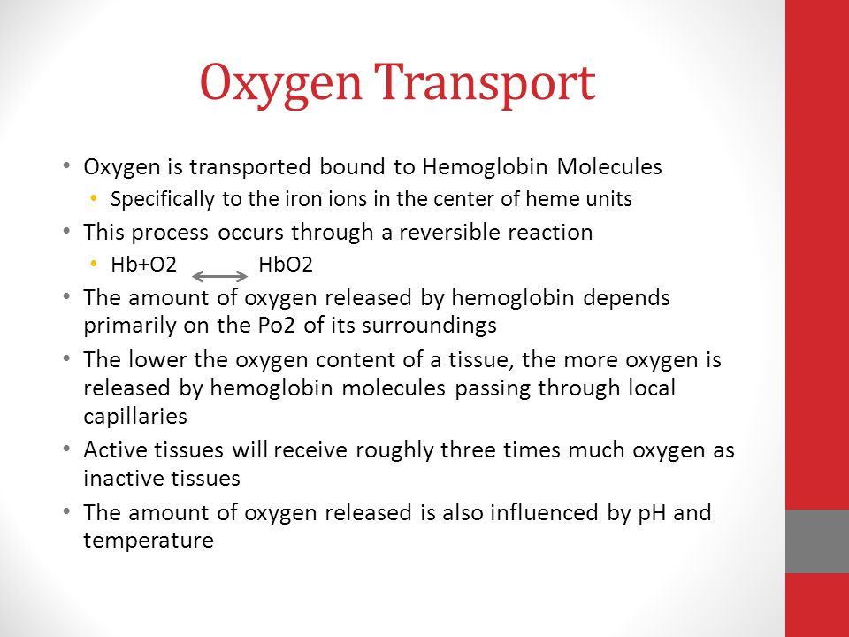 Oxygen Transport Oxygen is transported bound to Hemoglobin Molecules