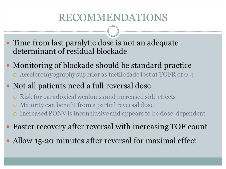 RECOMMENDATIONS Time from last paralytic dose is not an adequate determinant of residual blockade.