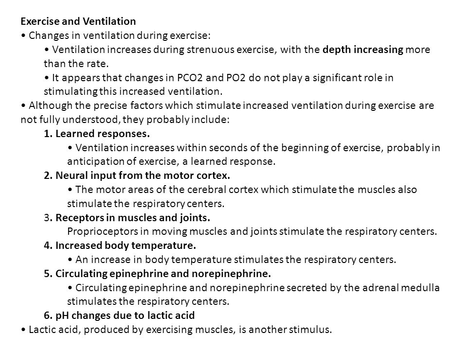 Exercise and Ventilation