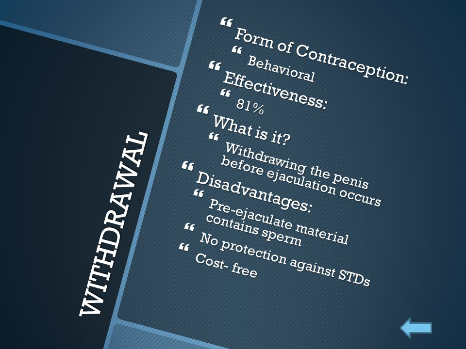 WITHDRAWAL Form of Contraception: Effectiveness: What is it