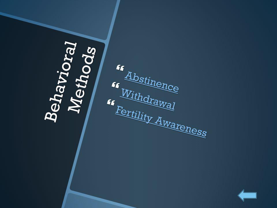 Abstinence Withdrawal Fertility Awareness Behavioral Methods