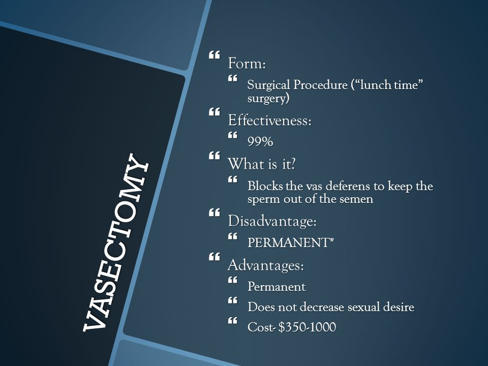 VASECTOMY Form: Effectiveness: What is it Disadvantage: Advantages: