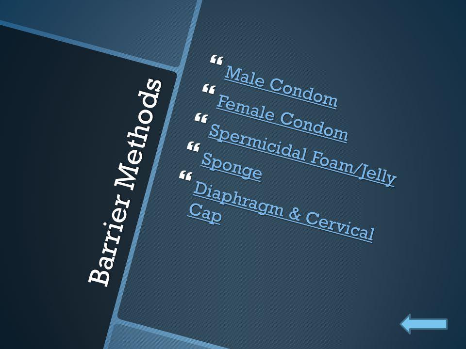 Barrier Methods Male Condom Female Condom Spermicidal Foam/Jelly