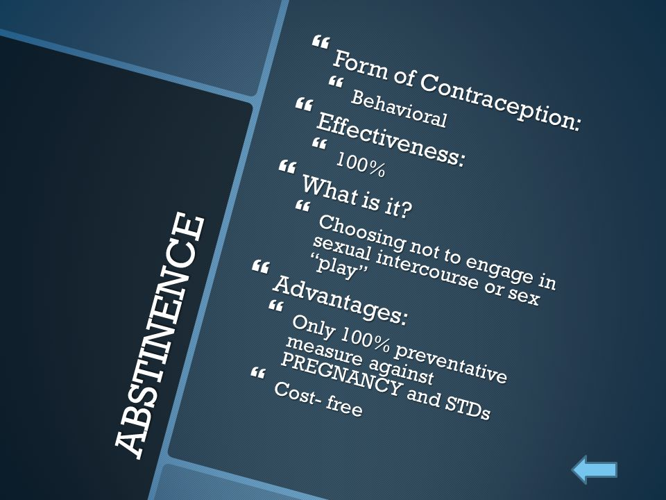 ABSTINENCE Form of Contraception: Effectiveness: What is it
