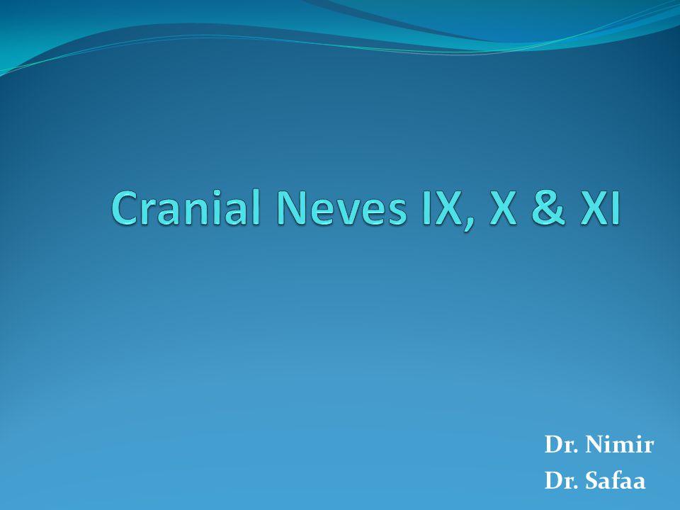 Cranial Neves IX, X & XI Dr. Nimir Dr. Safaa