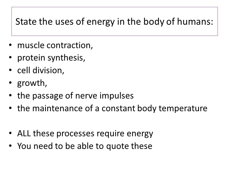 State the uses of energy in the body of humans: