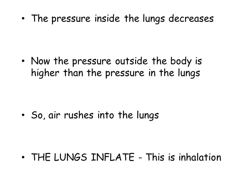 The pressure inside the lungs decreases