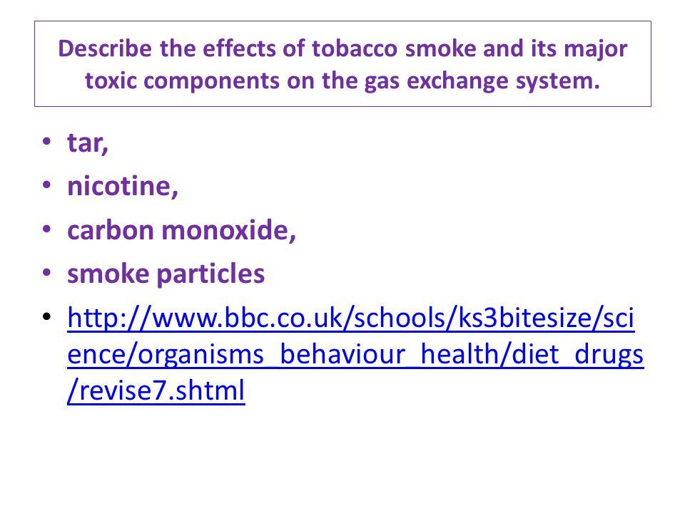 tar, nicotine, carbon monoxide, smoke particles