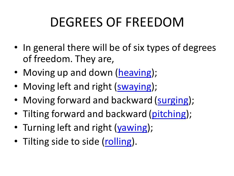 DEGREES OF FREEDOM In general there will be of six types of degrees of freedom. They are, Moving up and down (heaving);