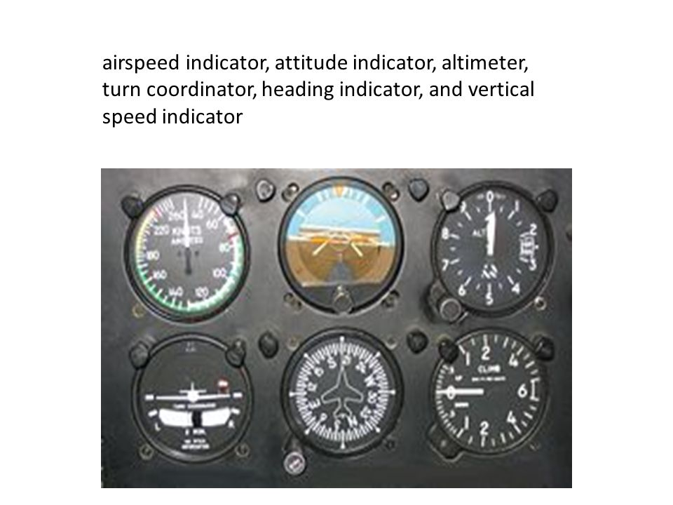 airspeed indicator, attitude indicator, altimeter, turn coordinator, heading indicator, and vertical speed indicator