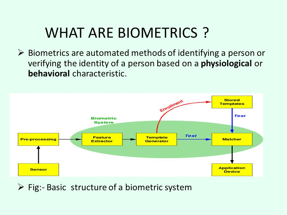 Biometrics are automated methods of identifying a person or verifying the identity of a person based on a physiological or behavioral characteristic.