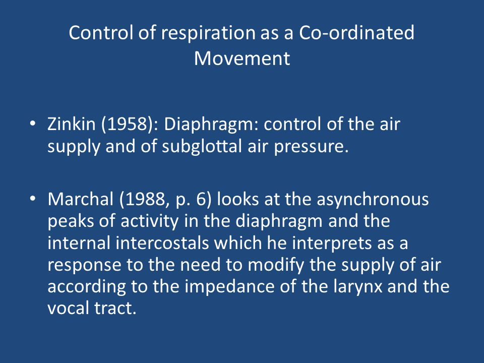 Control of respiration as a Co-ordinated Movement