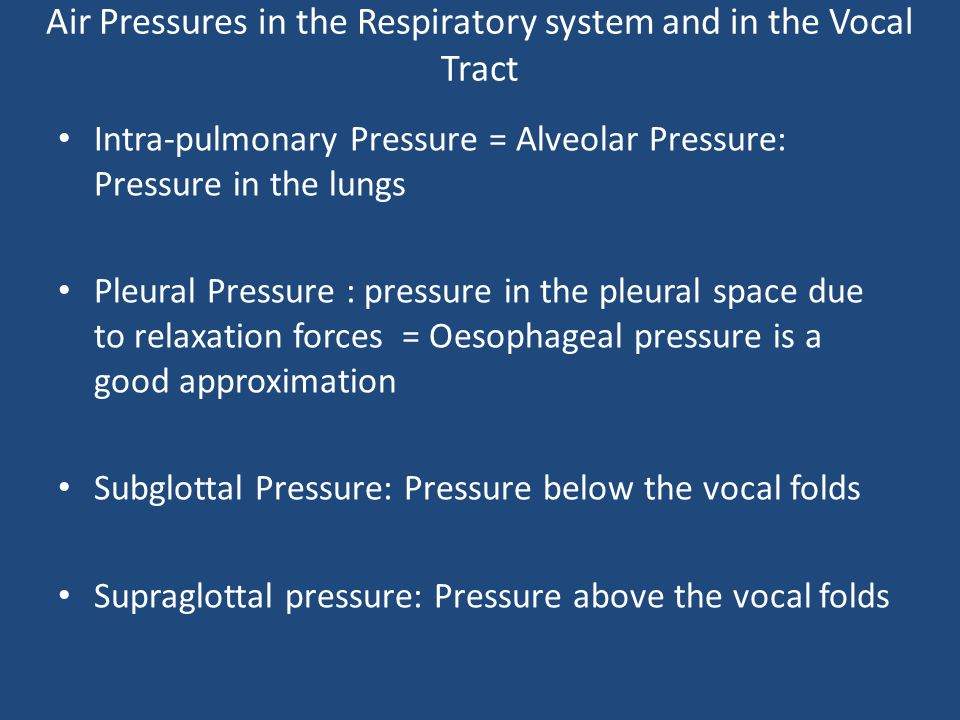 Air Pressures in the Respiratory system and in the Vocal Tract