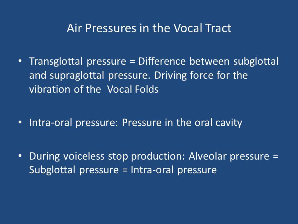 Air Pressures in the Vocal Tract
