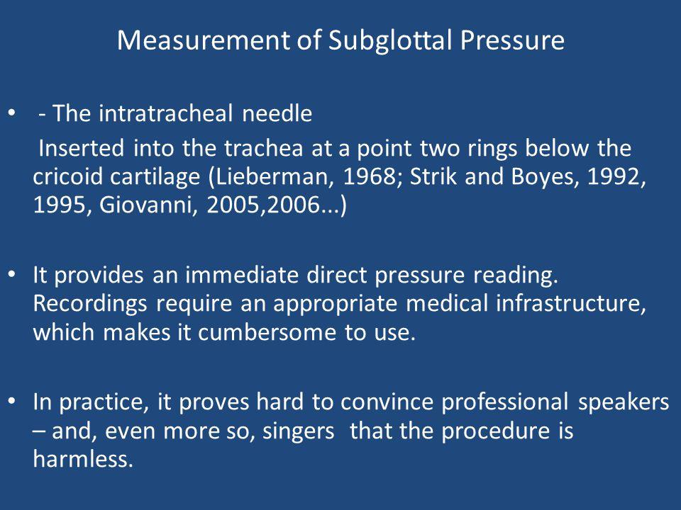 Measurement of Subglottal Pressure