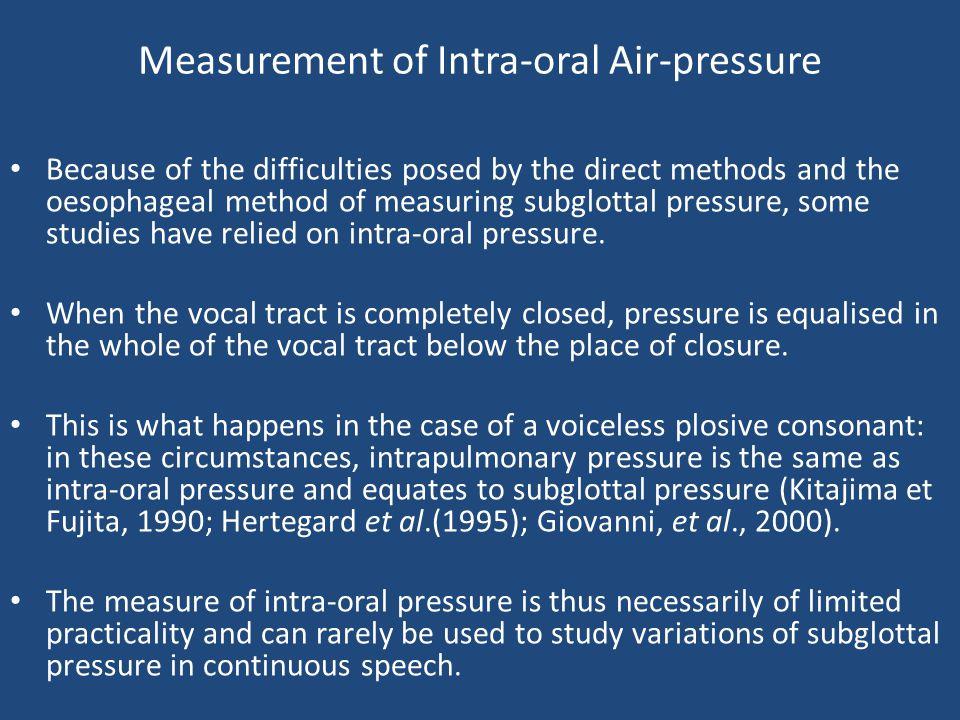 Measurement of Intra-oral Air-pressure