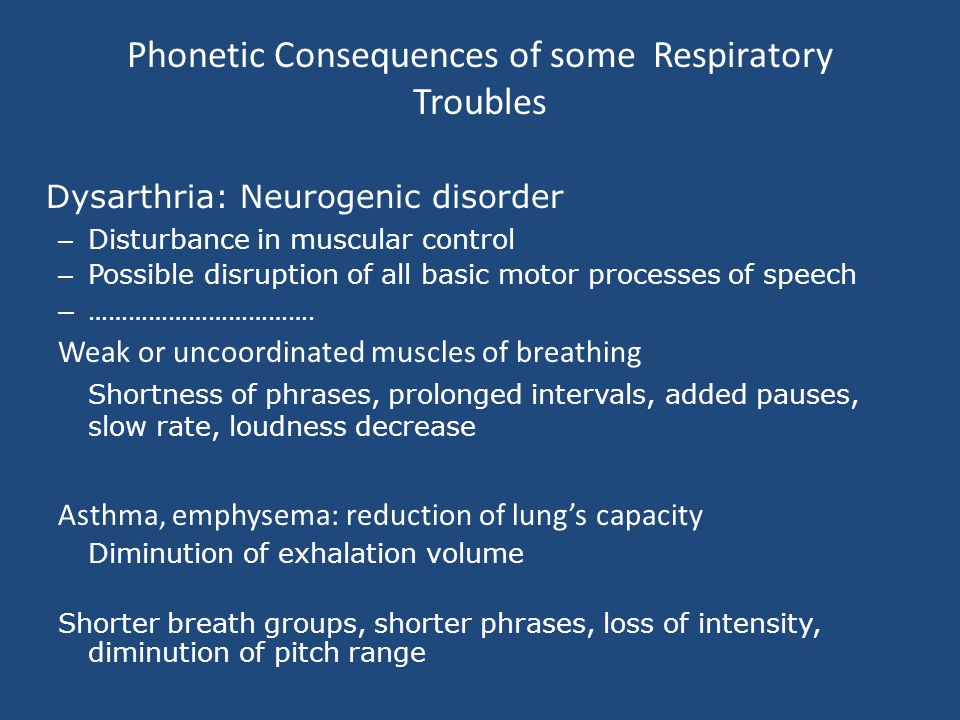 Phonetic Consequences of some Respiratory Troubles