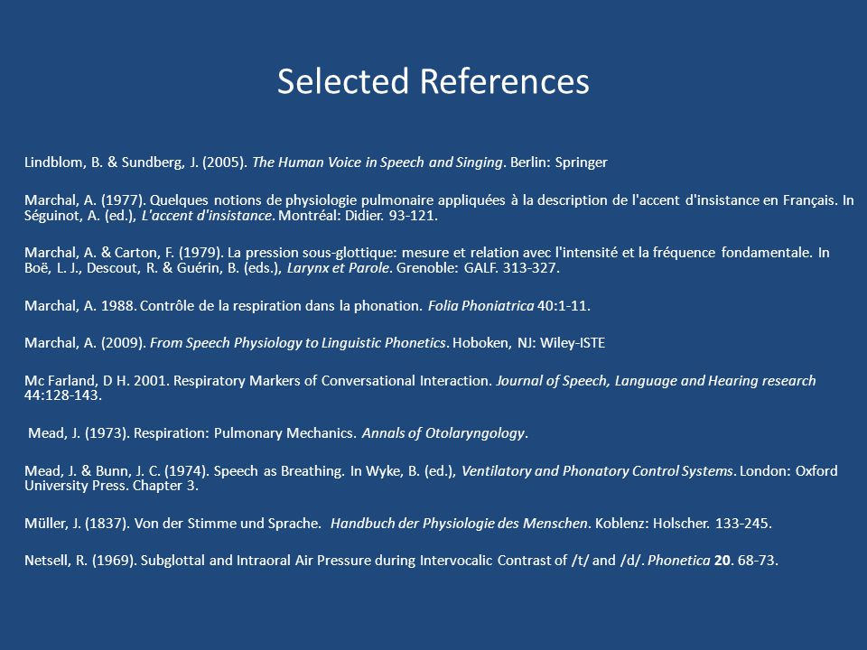 Selected References Lindblom, B. & Sundberg, J. (2005). The Human Voice in Speech and Singing. Berlin: Springer.