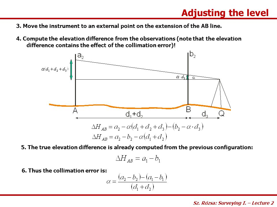 Adjusting the level Sz. Rózsa: Surveying I. – Lecture 2. 3. Move the instrument to an external point on the extension of the AB line.