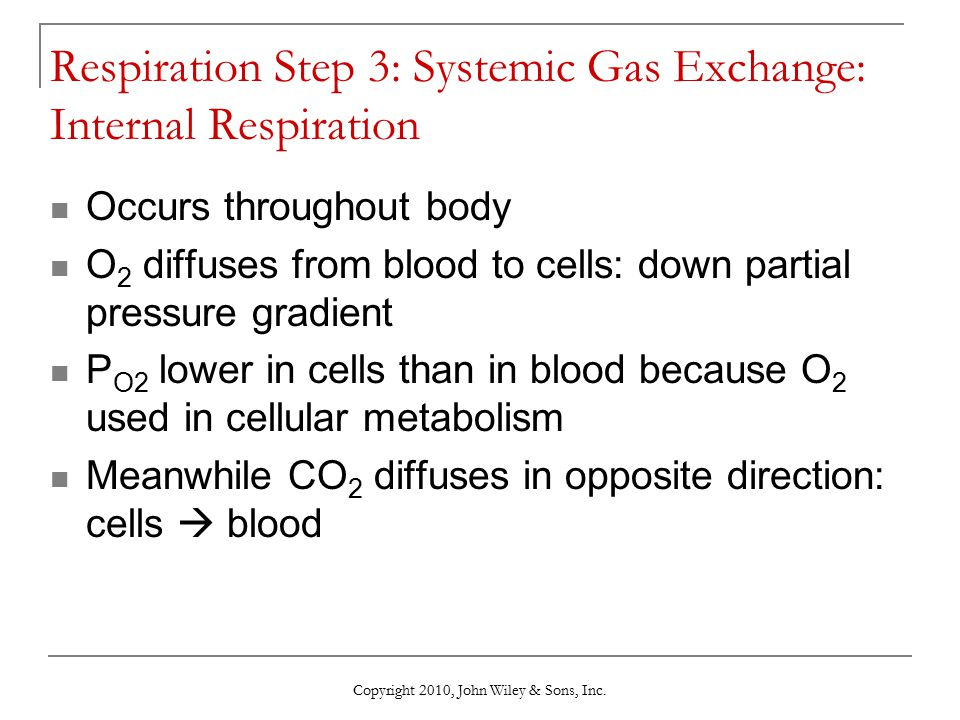Respiration Step 3: Systemic Gas Exchange: Internal Respiration