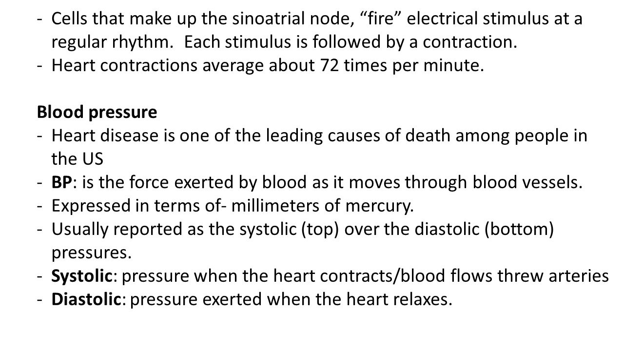Cells that make up the sinoatrial node, fire electrical stimulus at a regular rhythm. Each stimulus is followed by a contraction.