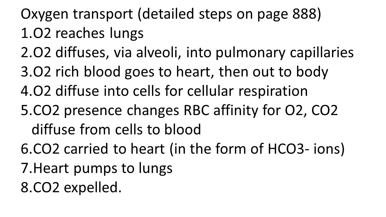Oxygen transport (detailed steps on page 888)