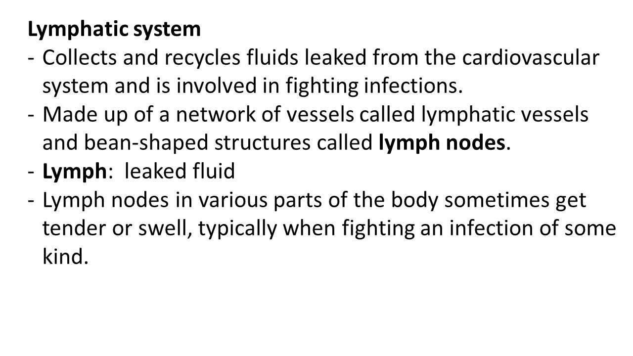 Lymphatic system Collects and recycles fluids leaked from the cardiovascular system and is involved in fighting infections.