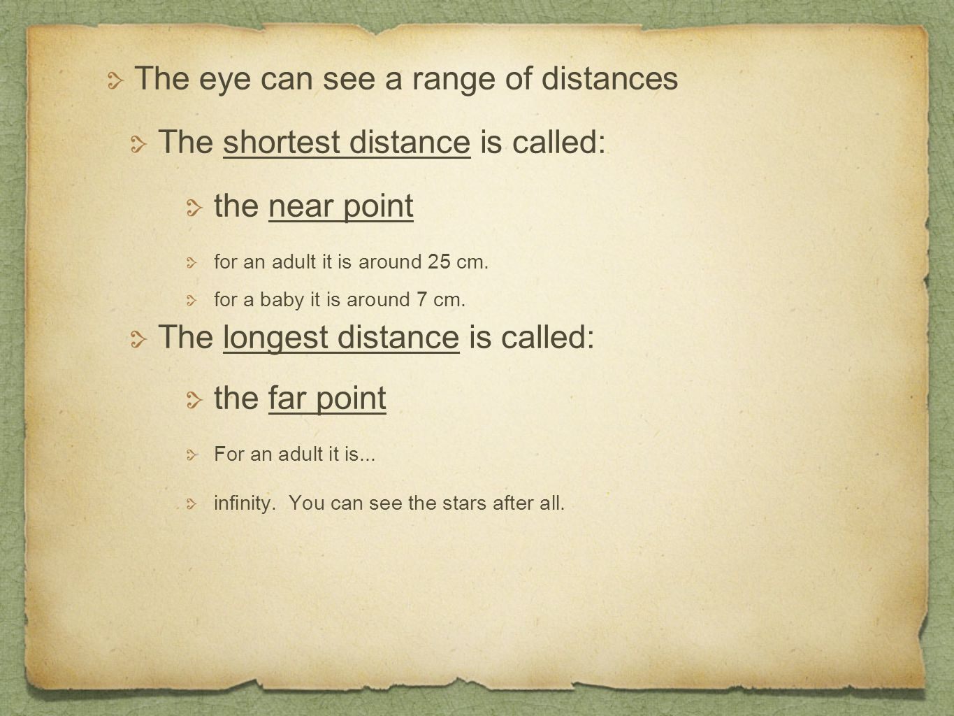 The eye can see a range of distances The shortest distance is called: