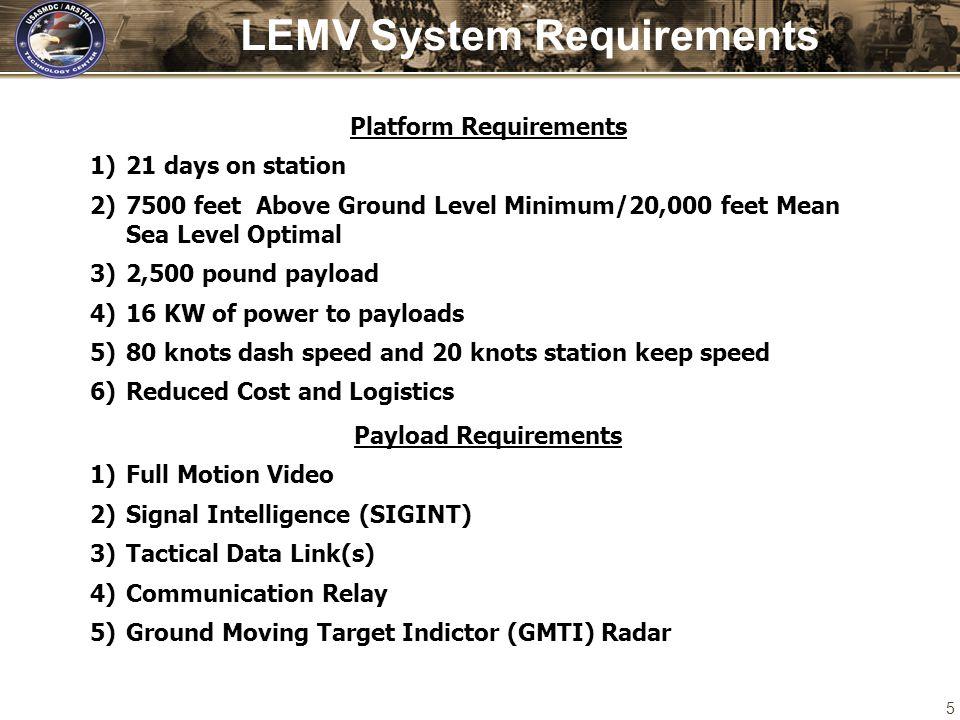 LEMV System Requirements Platform Requirements
