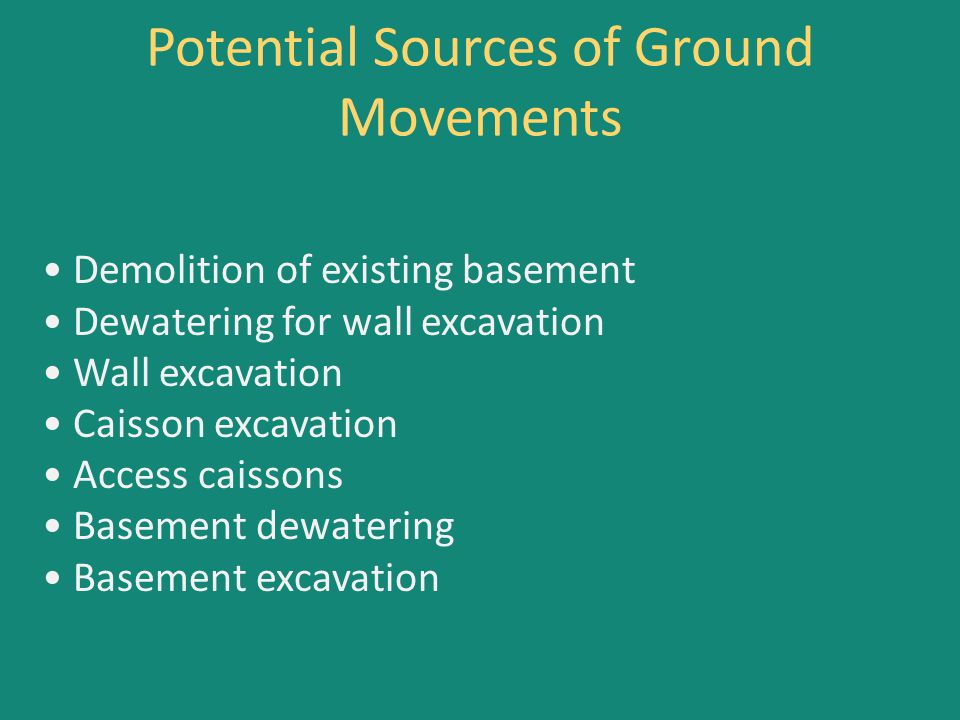 Potential Sources of Ground Movements