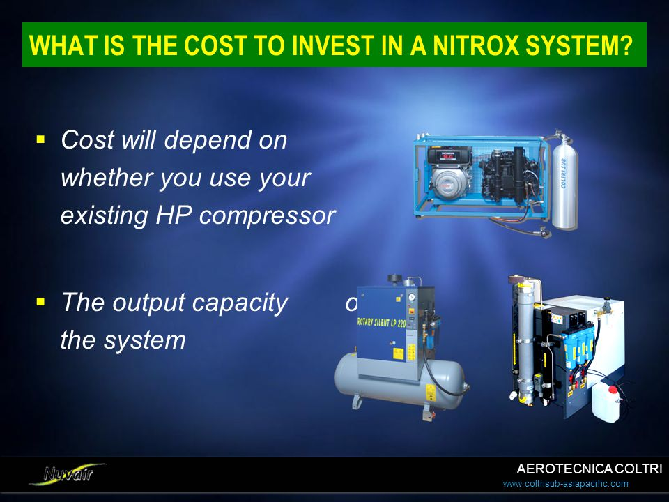 WHAT IS THE COST TO INVEST IN A NITROX SYSTEM
