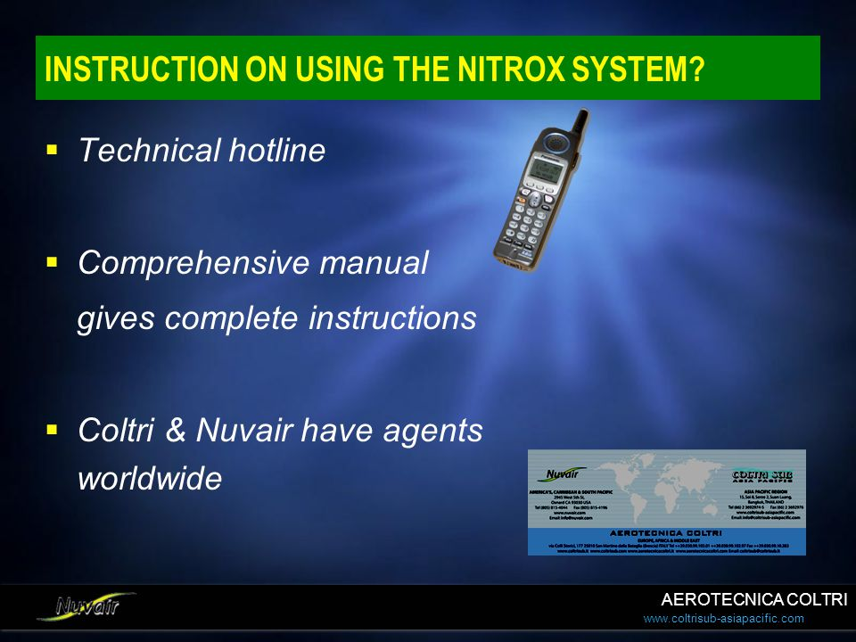 INSTRUCTION ON USING THE NITROX SYSTEM